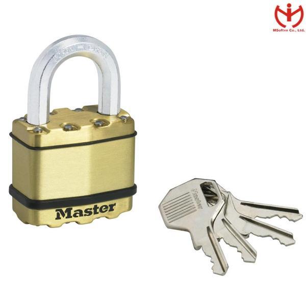 Khóa Chống Cắt Master Lock M5B EURD Thân Lá Thép Bọc Đồng 52mm 4 Chìa Răng Cưa - MSOFT