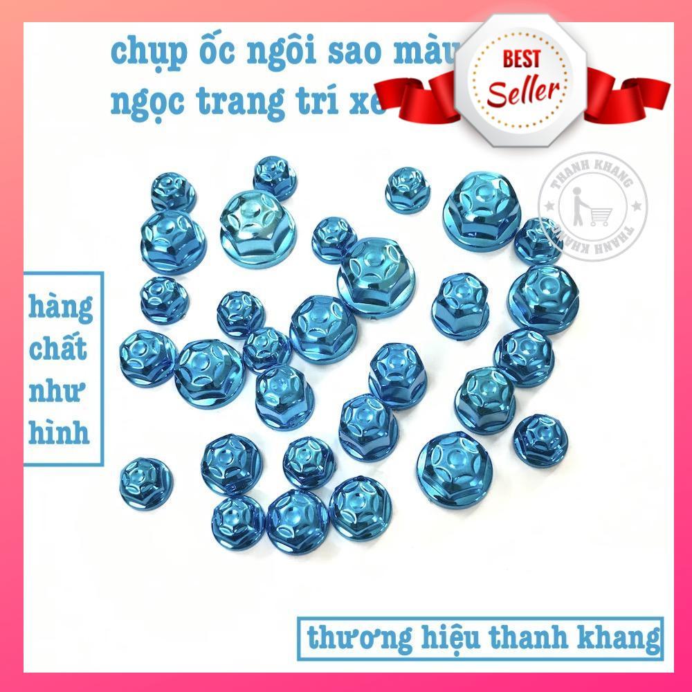 Bộ 30 con chụp ốc ngôi sao trang trí xe máy kiểu 2019 Thanh Khang màu xanh ngọc 006001523 Nhật Bản