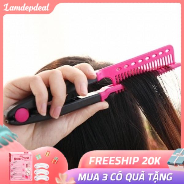 Lược chải tóc đa năng V-Shape - duỗi thằng - uốn cúp - phồng tóc 3in1 - Dụng cụ làm tóc - Lamdepdeal nhập khẩu