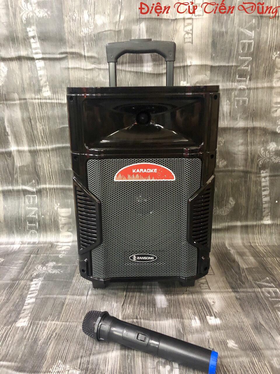 loa kéo Zansong 0880 loa karaoke bluetooth dòng bass 20cm kèm 1 micro không dây giá rẻ