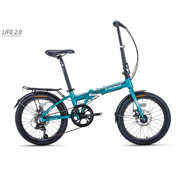 Mua Xe đạp gấp TrinX Life 2.0, Khung sườn hợp kim nhôm cao cấp Alloy 20X283mm, Trọng lượng 13kg, Bộ truyền động Shimano 7 Tốc độ, Vòng bánh 20in, Dành cho bạn cao từ 1m35, Màu Trắng Xám Lục Lam
