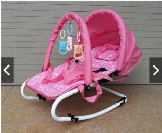 Ghế rung cao cấp ăn bột cho bé - Có bảo hiểm + đồ chơi + mái che + điều chỉnh nằm ngồi thumbnail