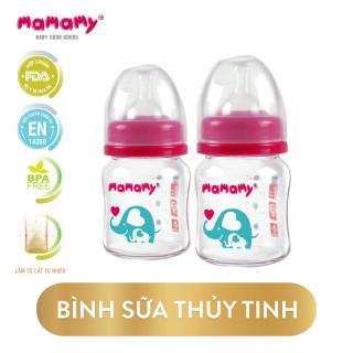Combo 2 Bình Sữa Thủy Tinh Cổ Rộng Chống Sặc Cho Bé Mamamy 120ml thumbnail