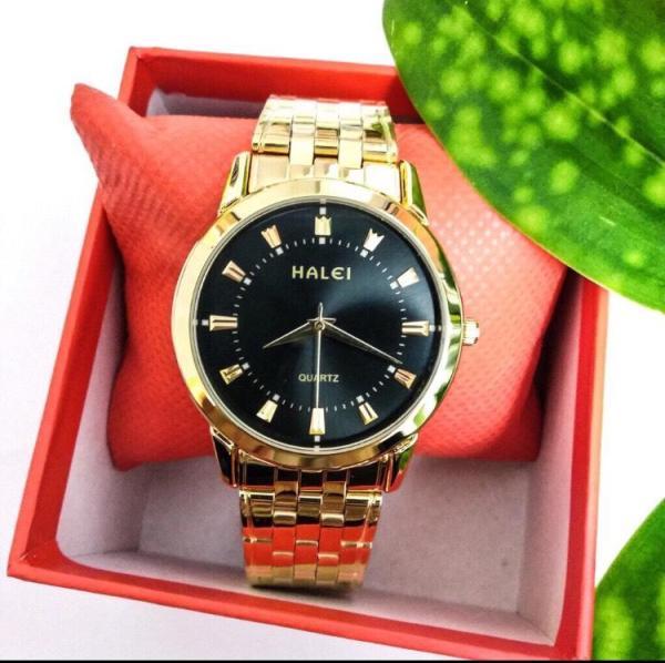 Đồng hồ nam Halei dây vàng mặt đen tặng vòng tì hưu sang trọng bền đẹp HL008a bán chạy