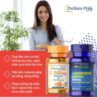 Combo Viên uống trắng da, tăng cường miễn dịch Bộ đôi L-Glutathione 500mg 30 viên và vitamin C 500mg 100 viên nén thương hiệu Puritan s Pride thumbnail