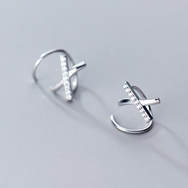 Bông Tai Bạc Đan Xoắn Phong Cách - B2530 - Bảo Ngọc Jewelry
