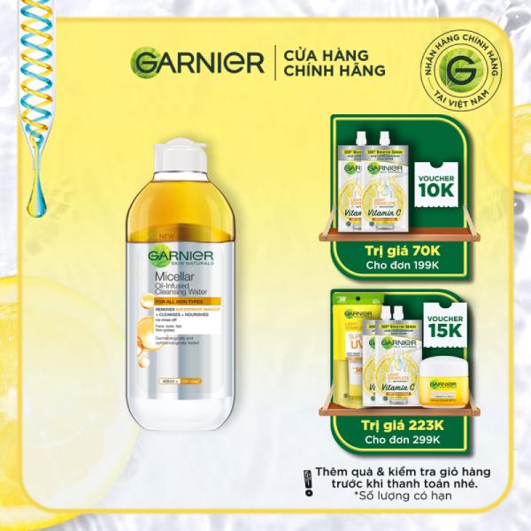 Nước làm sạch và tẩy trang cho da khô & trang điểm lâu trôi Garnier Micellar Water Oil-Infused 400ml