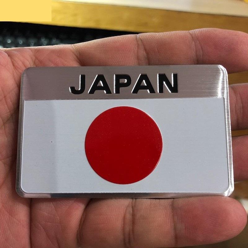 Tem Nhôm Cờ Nhật Bản Dán Trang Trí Xe Ô Tô - Hình chữ nhật