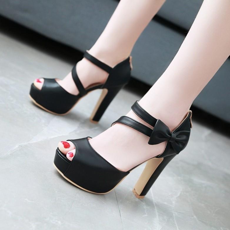 Giày cao gót hở mũi phối nơ hông  xinh xắn - CG1093 giá rẻ