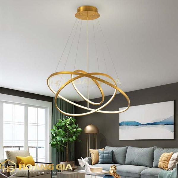 Đèn thả trần tích hợp 3 vòng Led trang trí phòng khách bàn ăn Led 3 chế độ màu TH814  (Kèm Remote điều khiển tiện dụng) Bảo hành 12 tháng