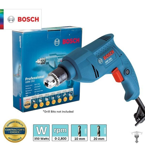 Máy khoan Bosch GBM 350 Professional - Công suật 350W - Tốc độ định mức 2000 vòng/1 phút