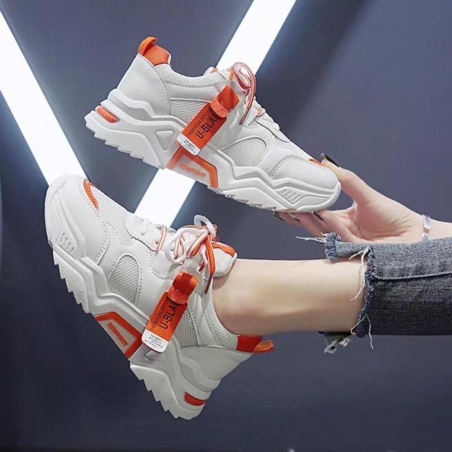 (VIDEO) Giày thể thao nữ độn đế gắn mác Jintu 3 màu vàng trắng cam Shyn Store giá rẻ