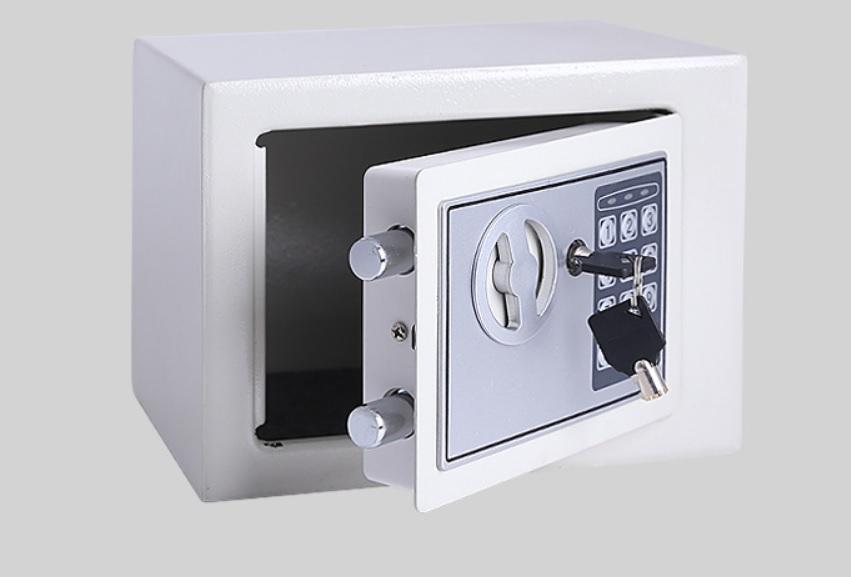 Két sắt bảo mật nhỏ gọn thích hợp gắn trong tủ quần áo hoặc góc tường (sử dụng cả khóa mật khẩu và khóa chìa đồng thời)