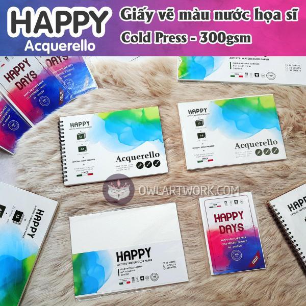 Mua Sổ Giấy Vẽ Màu Nước Happy Họa Sĩ 300gsm, Size A6,A5,A4