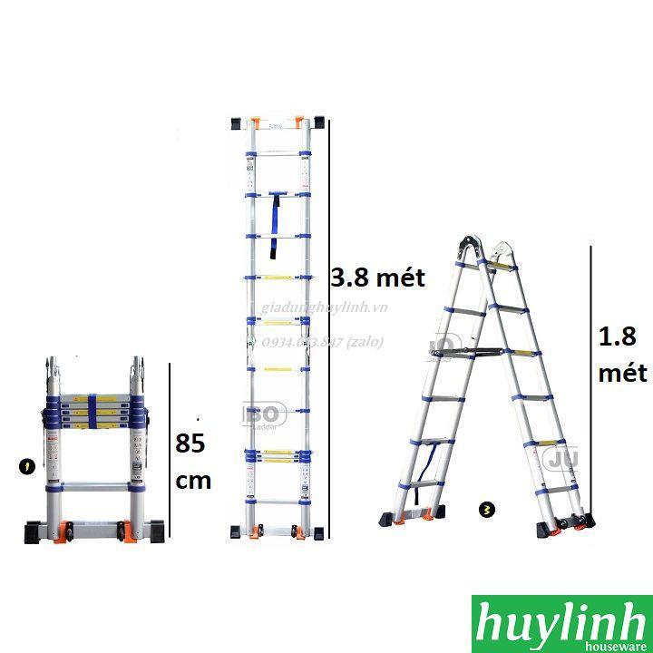 Thang nhôm rút đôi chữ A Jumbo A190B - 3.8 mét