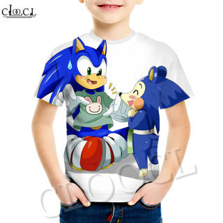 CLOOCL Sonic The Hedgehog Anime Creative Graphic Boy Short-sleeved T-shirt 3D Printed Pattern Children Round Neck T-shirt Summer Fashion Casual Cute Pullover thumbnail