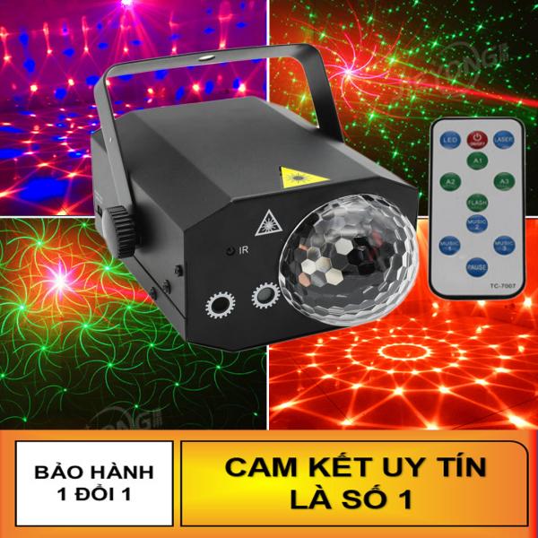 Đèn LED xoay cảm ứng theo nhạc - Đèn Laser vũ trường cảm biến Âm Thanh cực đẹp (Có Remote). Đèn led spider thế hệ mới rất phù hợp cho phòng hát karaoke, bar mini