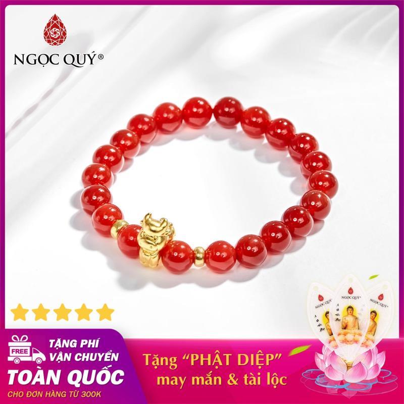 Vòng tay phong thủy đá mã não đỏ charm tuổi sửu bạc mạ vàng 24k 8mm mệnh hỏa , thổ - Ngọc Quý Gemstones