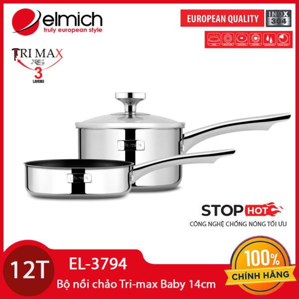 Bộ nồi chống dính Elmich Trimax Baby EL-3794 đường kính 14cm gồm 1 quánh, 1 chảo và 1 vung