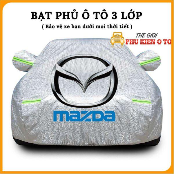 Bạt Phủ Xe Ô Tô Mazda 2, Mazda 3, Mazda 6, CX5, CX8, CX9, BT50, có phản quang, chống nóng, chống nước, có khóa kéo cánh cửa