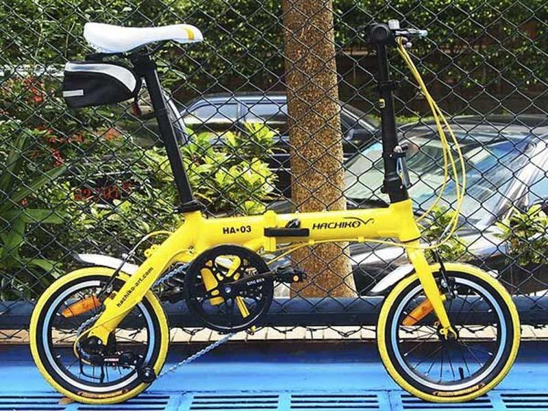 Mua Xe đạp gấp Nhật Bản hachiko ha03 màu vàng,đen,trắng