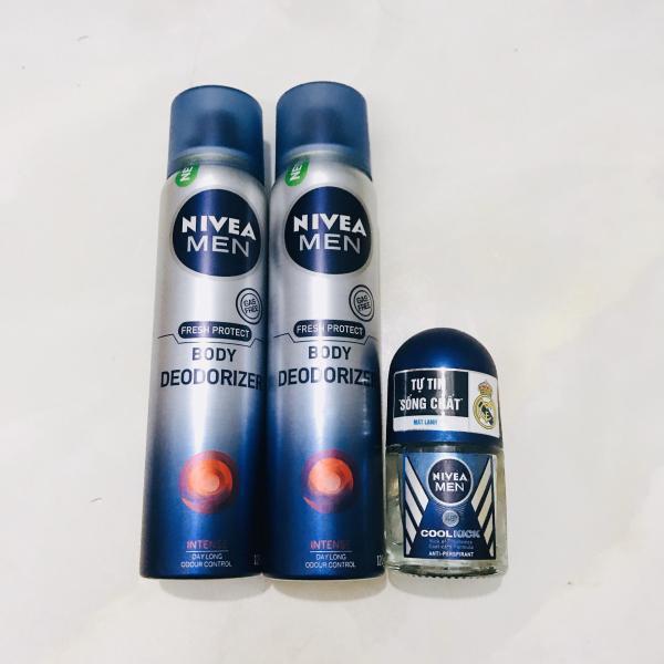 Mua bộ 2 chai xịt toàn thân nivea men 120ml + Tặng 1chai lăn khử mùi nivea men 12ml(HÀNG KM)