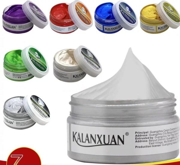 sáp vuốt tóc màu 9 màu cho quý khách chọn: màu Xám khói - Bạch kim - Tím -  Xanh lam- Xanh rêu - Vàng - cafe - đỏ - đen