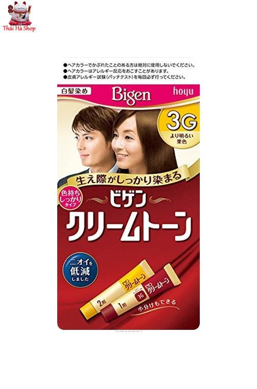 Thuốc Nhuộm Phủ Bạc Tóc Bigen Số 3G Nhật Bản -Đen Ngã Nâu