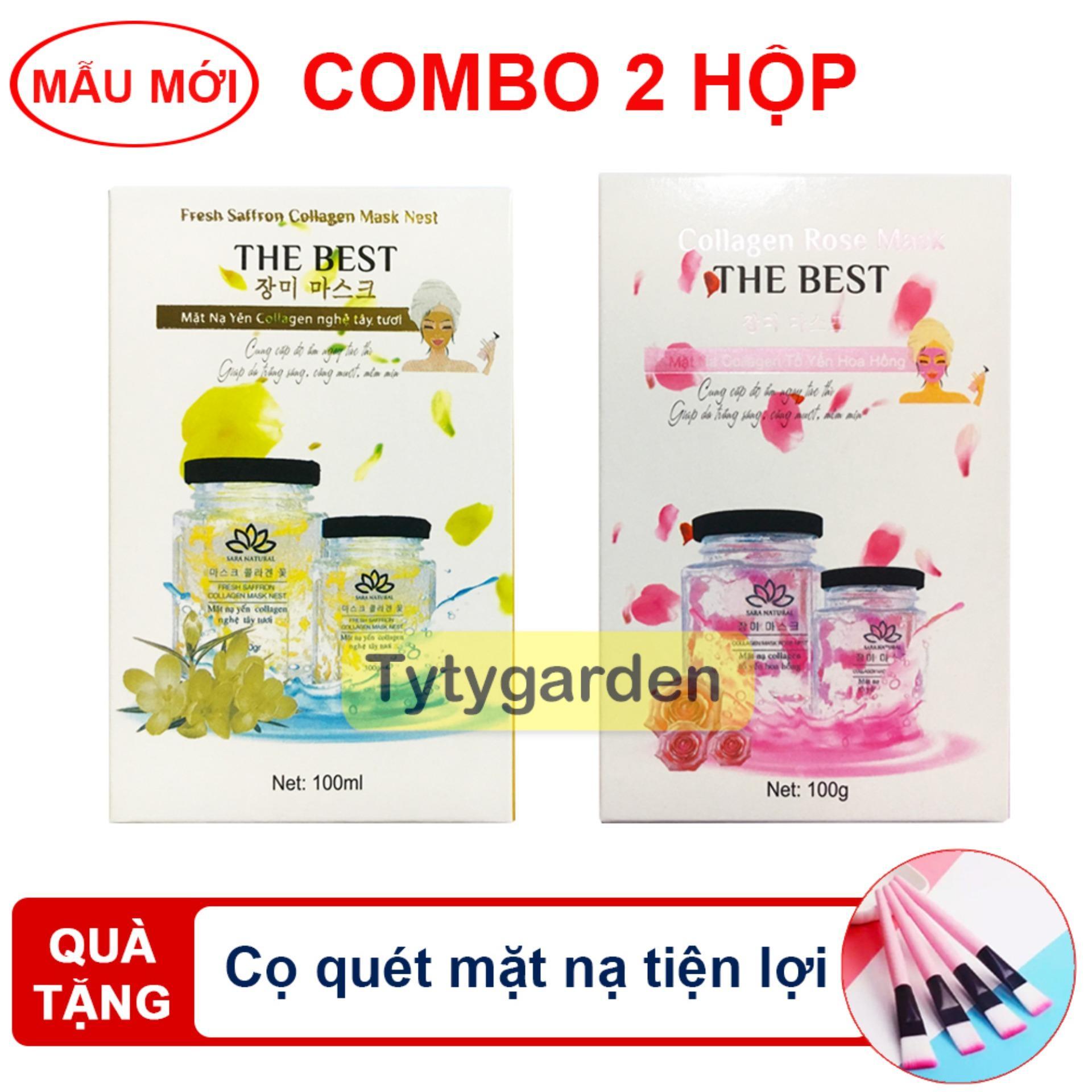 Combo 2 mặt nạ yến collagen Nghệ Tây - Hoa Hồng Trắng Rạng Ngời [ tặng kèm cọ quét] - Siêu tiết kiệm