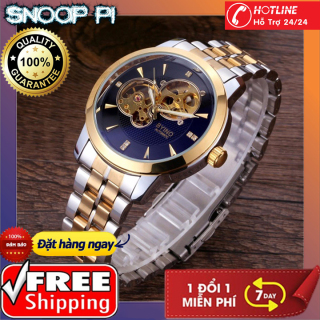 (TẶNG KEMF VÒNG ĐÁ THẠCH ANH) Đồng hồ cơ lộ máy Byino-Đồng hồ cơ BYINO Automatic mặt kính tráng sapphire, dây đúc đặc cao cấp, máy lộ cơ tinh xảo thumbnail