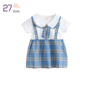 27 Đầm Công Chúa Cho Bé Gái Đầm Kẻ Ca Rô Cổ Tròn Tay Ngắn Cho Trẻ Tập Đi, Trang Phục Đi Chơi Với Nơ Trang Trí