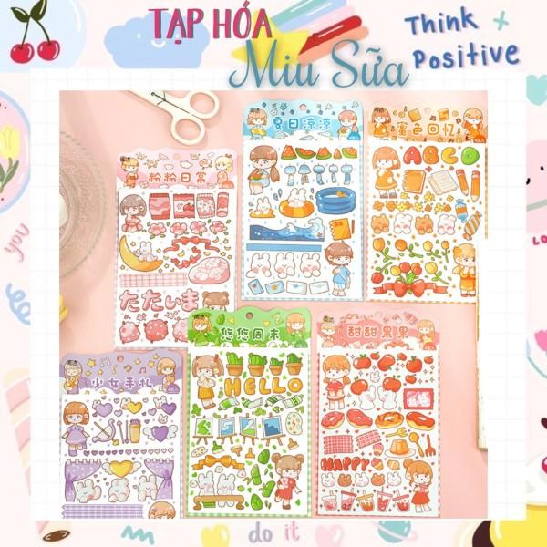 Set 4 tấm sticker bé gái 6 màu dễ thương - MiuSua