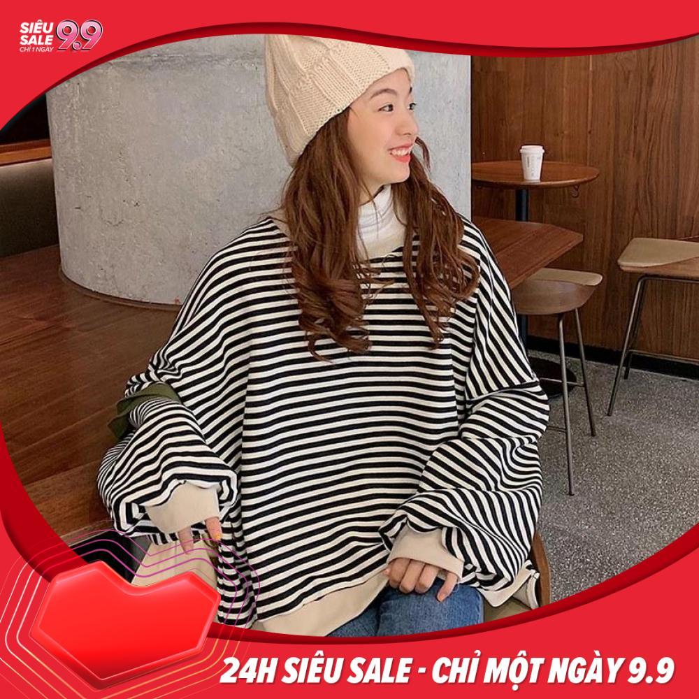 Áo Sweater nữ nỉ form rộng tay dài kẻ ngang siêu cool