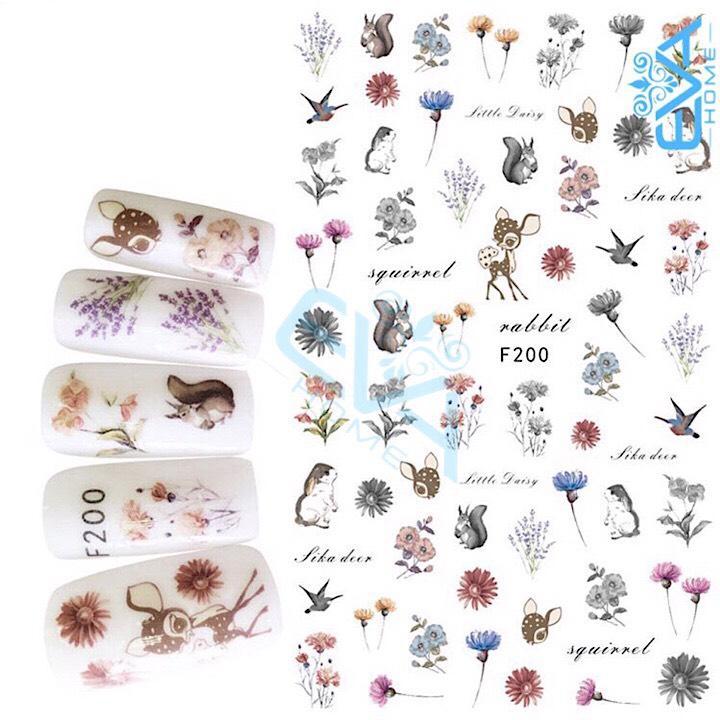 Miếng Dán Móng Tay 3D Nail Sticker Tráng Trí Hoạ Tiết Bông Hoa F200 tốt nhất