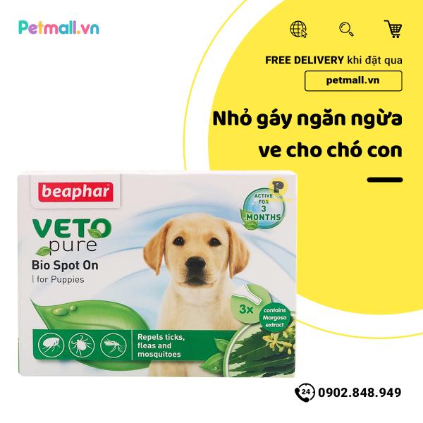 Nhỏ gáy ngừa ve cho chó con Beaphar Veto Pure Bio Spot On - 1 tuýp - fleas & tick for Puppy