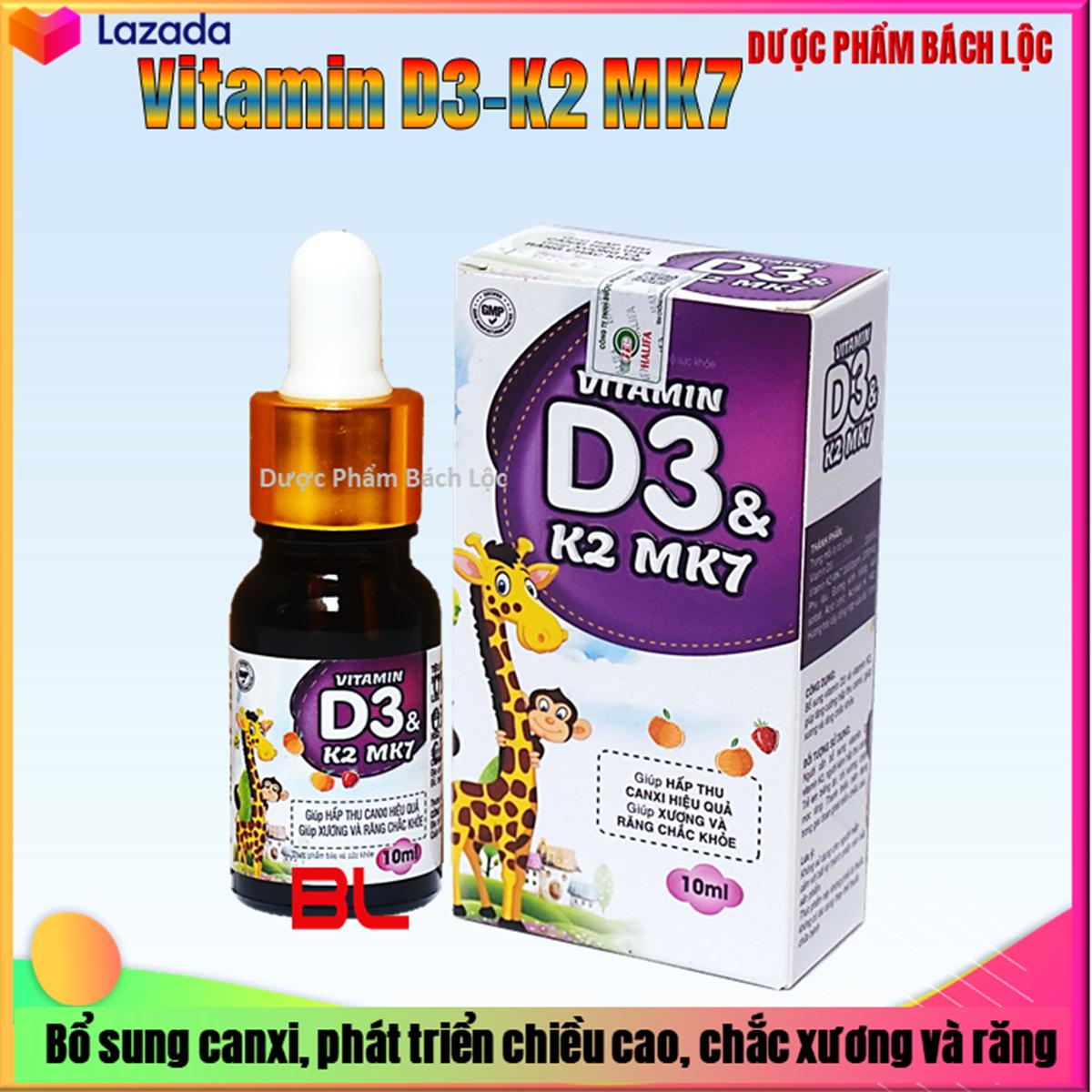 Vitamin D3 K2 Mk7 Nhỏ Giot  Giúp Bé Hấp Thụ Calci Tăng Trưởng Chiều Cao Cân Nặng Tăng Sức Đề Kháng Hộp 10ml
