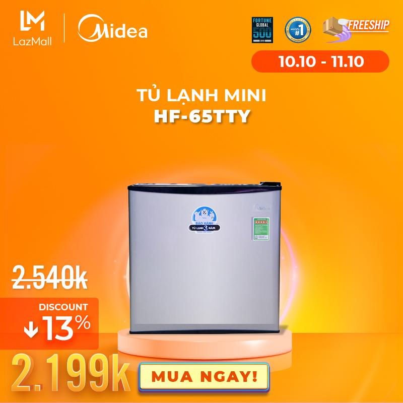 Tủ lạnh Midea HF-65TTY - 60 Lít - Phù hợp làm Mini Bar- Thiết kế cao cấp - Hàng chính hãng bảo hành 2 năm