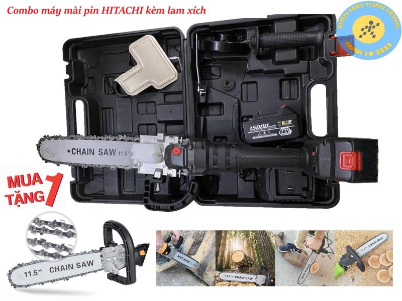 Máy mài pin không chổi than Hitachi 88V - 2 PIN - TẶNG bộ lưỡi cưa xích gắn máy mài cắt cây