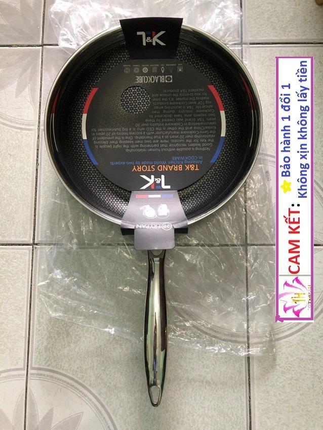 Chảo siêu bền cao cấp 3 lớp inox 304 Blackcube Hàn Quốc hiệu T&K kết hợp 1 lớp chống dính và chống dính vật lý dạng trụ lồi inox 304 bếp từ Hcm