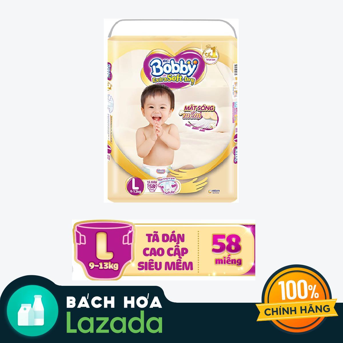 Tã dán cao cấp siêu mềm Bobby Extra Soft Dry L-58 miếng (9 - 12kg)