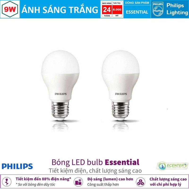 ( Bộ 2 ) Bóng LED Bulb Philips Essential 9W E27 ( Ánh sáng trắng & vàng )
