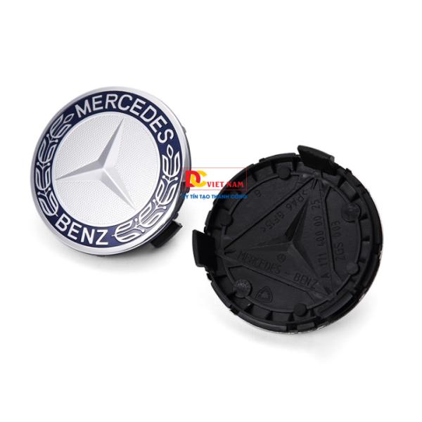 1 chiếc logo chụp mâm, la zang bánh xe ô tô, xe hơi Merce.des Benz MDE75-1 đường kính 75mm  ( Màu đen ánh xanh)