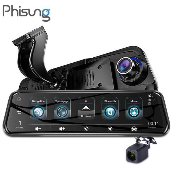 Camera hành trình lắp gương cao cấp ô tô, xe hơi Phisung H58 tích hợp 4G, Wifi, GPS, màn hình 10 inch