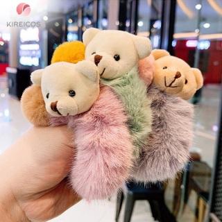 Cột Tóc Lông Xù Cao Cấp Đính Gấu Siêu Cute 3