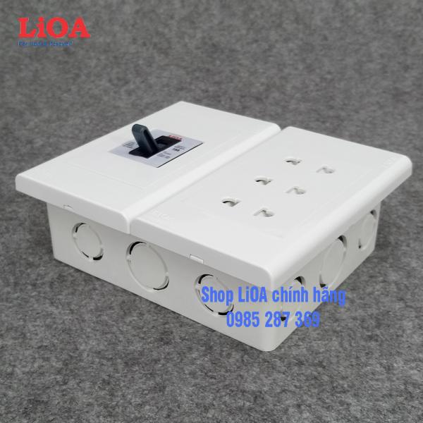 [Lăp âm tường] Combo ổ cắm điện ba 2 chấu 16A LiOA (3520W) có cầu dao chống quá tải 15A giá rẻ
