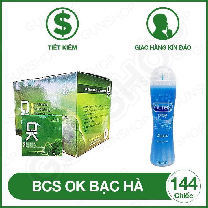 Bao Cao Su OK (Malaysia) Mùi Bạc Hà ( hộp 144 chiếc ) + Tặng 1 Gel bôi trơn Durex Play 50m - [ Gunshop-BCS01 ]