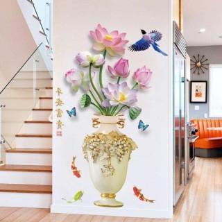 Decal trang trí Bình sen trằng 1- Tranh dán tường phong cách thumbnail