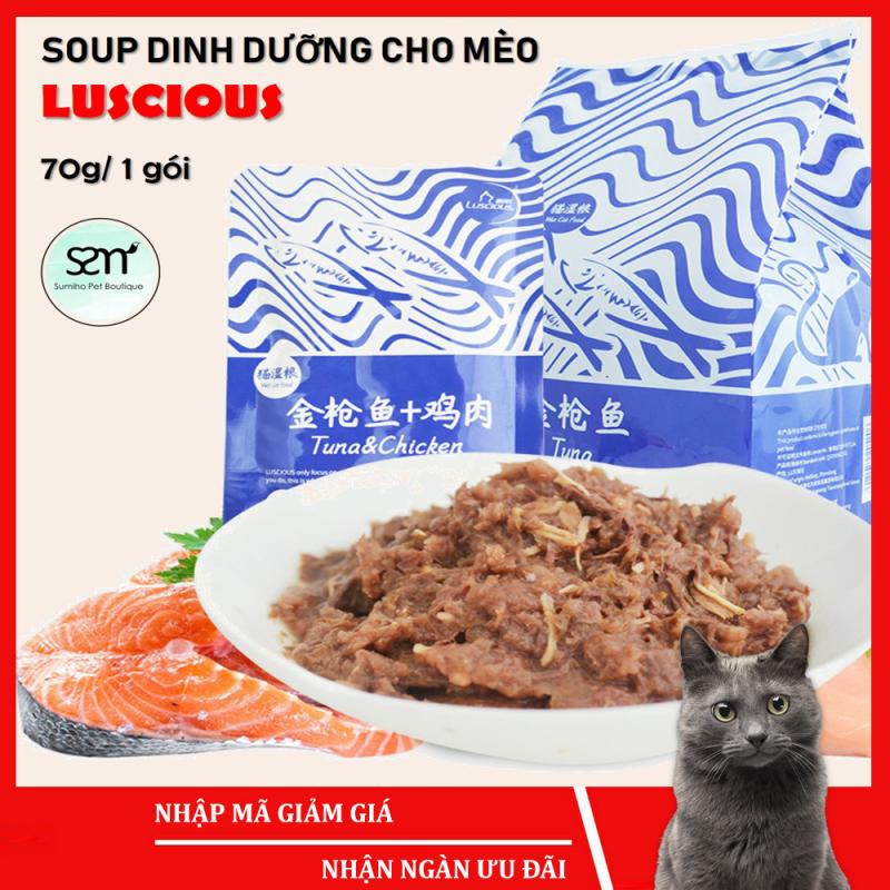 Súp dinh dưỡng cho mèo Luscious (gói 70gr) - Pate cho mèo vị cá ngừ