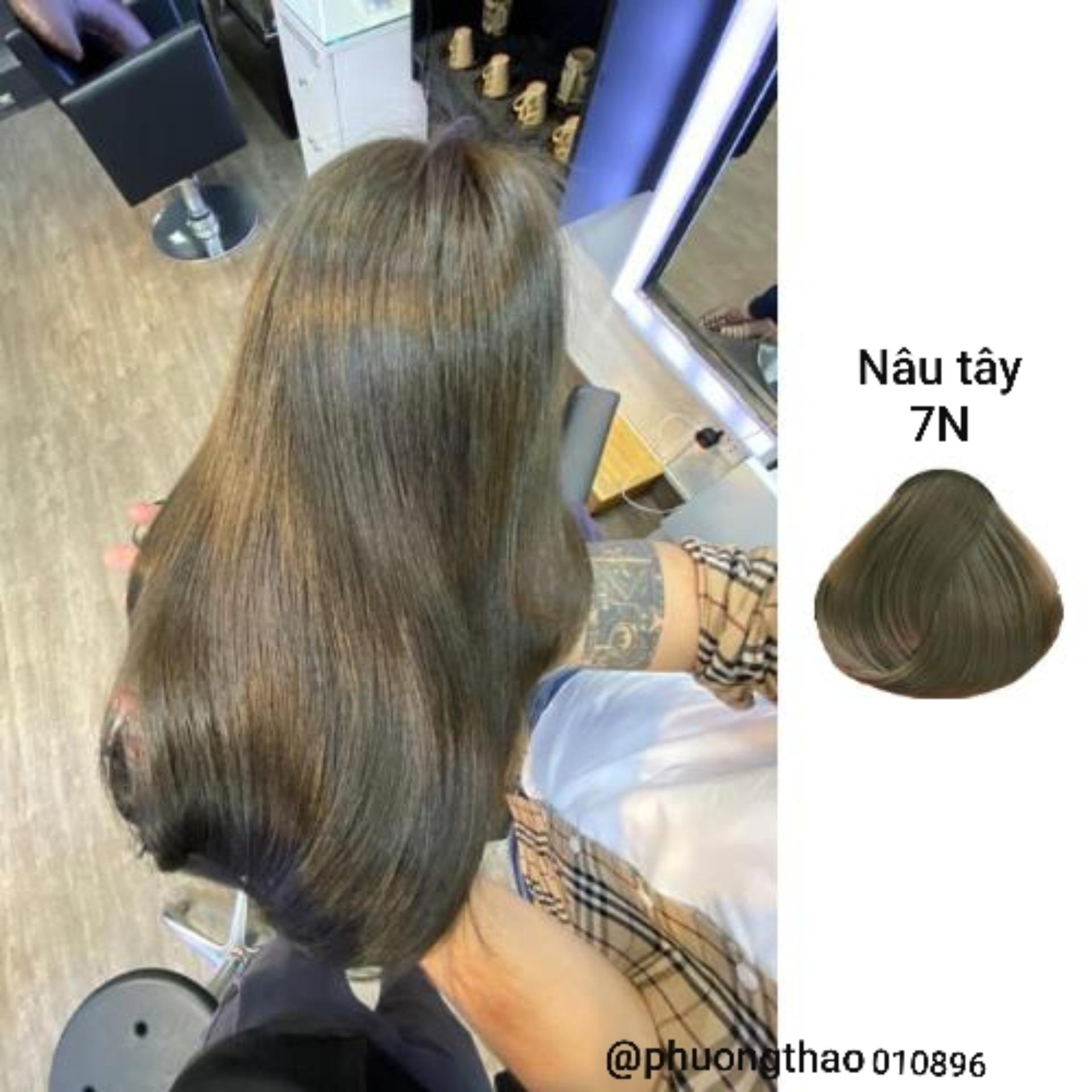 Thuốc nhuộm tóc màu nâu tây ánh rêu (7N) KHÔNG TẨY + TẶNG kèm trợ nhuộm cao cấp