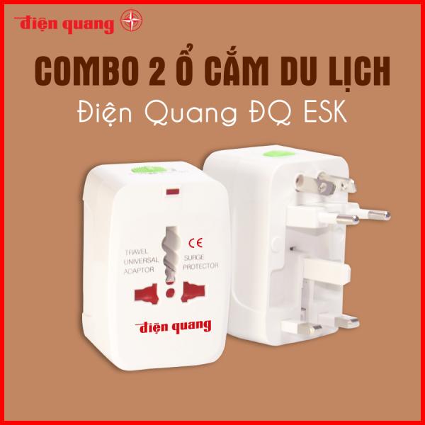 Combo 02 Ổ cắm du lịch Điện Quang ĐQ ESK TV01